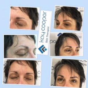 collage picture of microblading eyebrows results on client